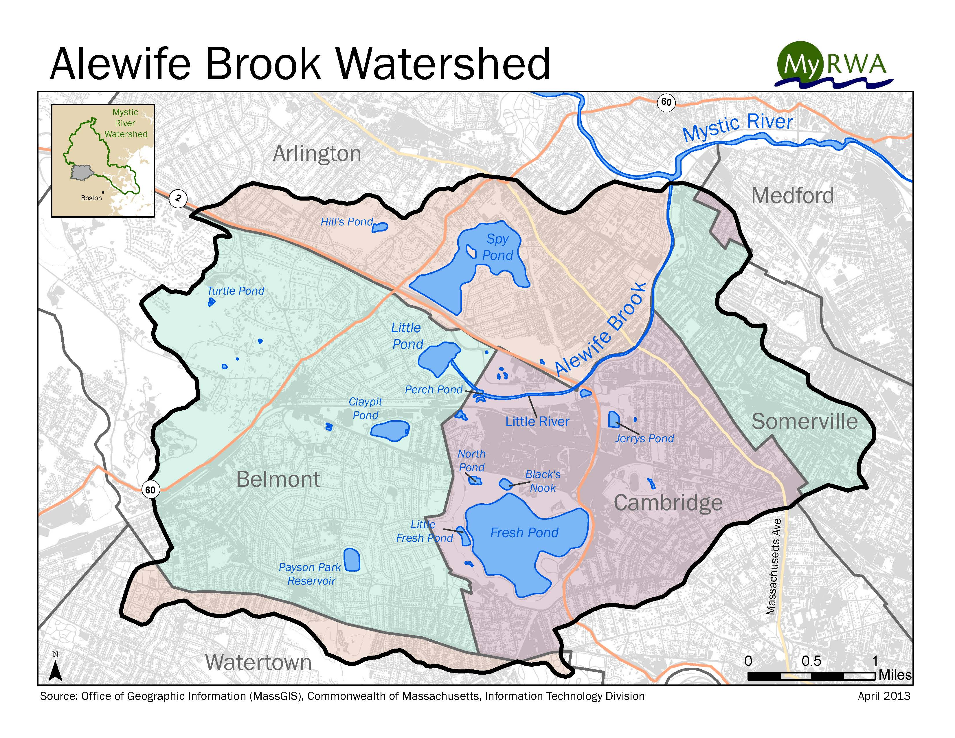 map of Alewife Brook Watershed
